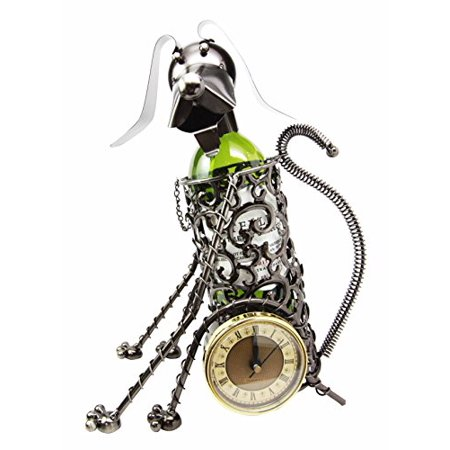 Sitting Beagle Dog Hand Made Metal Wine Bottle Holder Caddy With Analog Clock - Beagle Clock