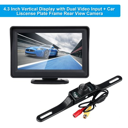 Wireless Backup Camera for Car and Monitor kit Waterproof Night Vision License Plate Camera with 7 Infrared (IR) LED Rear View Camera 4.3 Inches Display (Camera For Back Of Car)