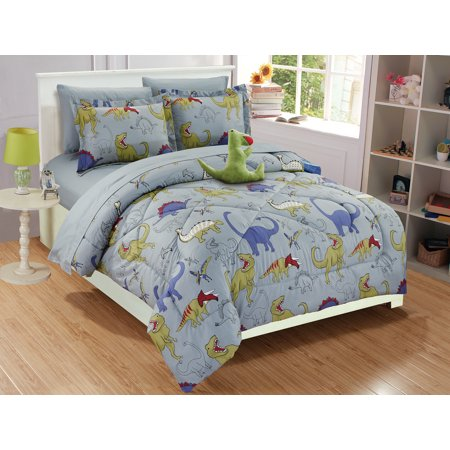 Fancy Linen Collection 6 Pc Twin Size Dinosaur Grey Blue