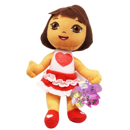Dora the Explorer Pink Heart Dress Small Kids Plush Toy (8in)