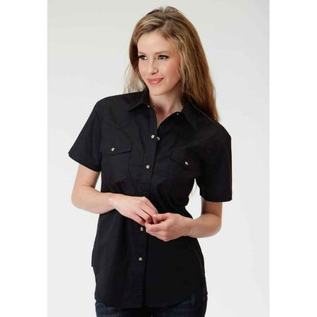 Roper Ladies Short Sleeve Western Shirt Solid Poplin Back Yoke Blac 1X, 0265