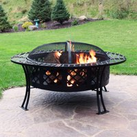 Sunnydaze Diamond Weave Large Patio Fire Pit with Spark Screen - 40-inch