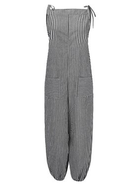 Women's Striped Sleeveless Wide Leg Loose Strappy Pockets Holiday Rompers
