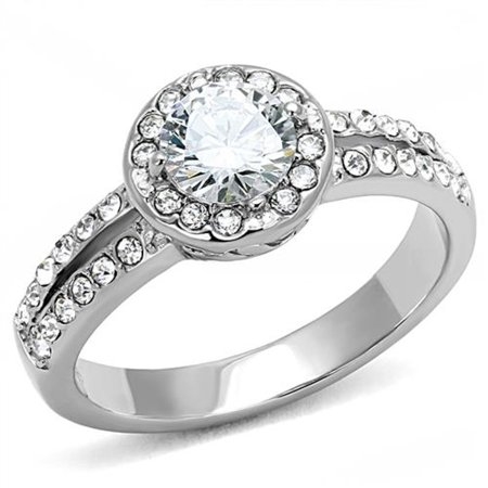 Women's 1.2 Ct Round Cut Zirconia Stainless Steel Halo Engagement Ring Size 6