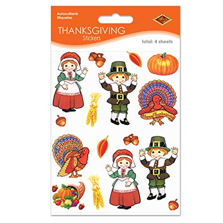 Pilgrim & Turkey Stickers   (4 Shs/Pkg) - Pilgrim Crafts