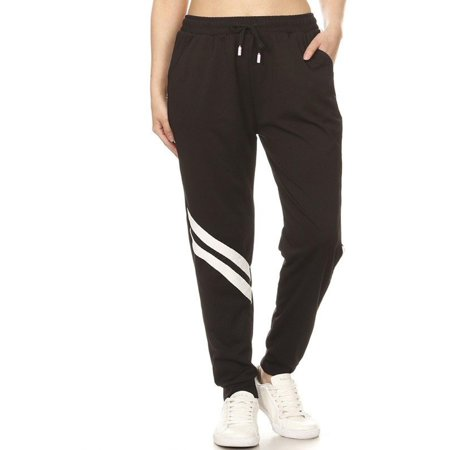 MOA COLLECTION Women's Active Athletic Striped Pattern Pocket Drawstring Waist Jogger (Athletic Drawstring Sweatpants)