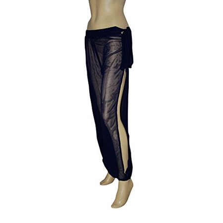 Hip Shakers Genie Costume Navy Sheer Chiffon Harem/Yoga Pants with Side Slit Halloween - Red Face Makeup Halloween