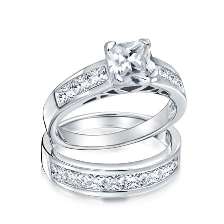 2 CT Round Solitaire Brilliant Cut Square Side AAA CZ Pave Band Engagement Wedding Ring Set For Women Sterling Silver ()