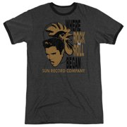 Sun Records Media Company Record Label Elvis & Rooster Adult Ringer T-Shirt Tee
