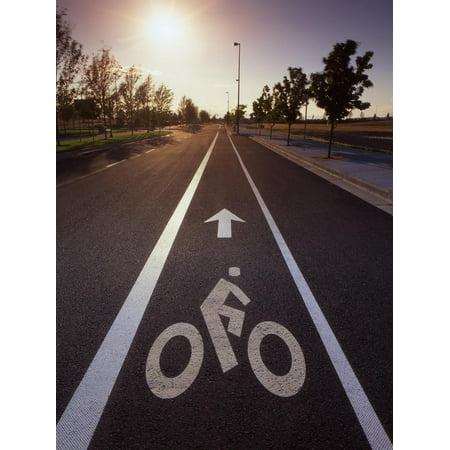 Usa, Oregon, Portland. Bike rider sign on street. Print Wall Art By Jaynes