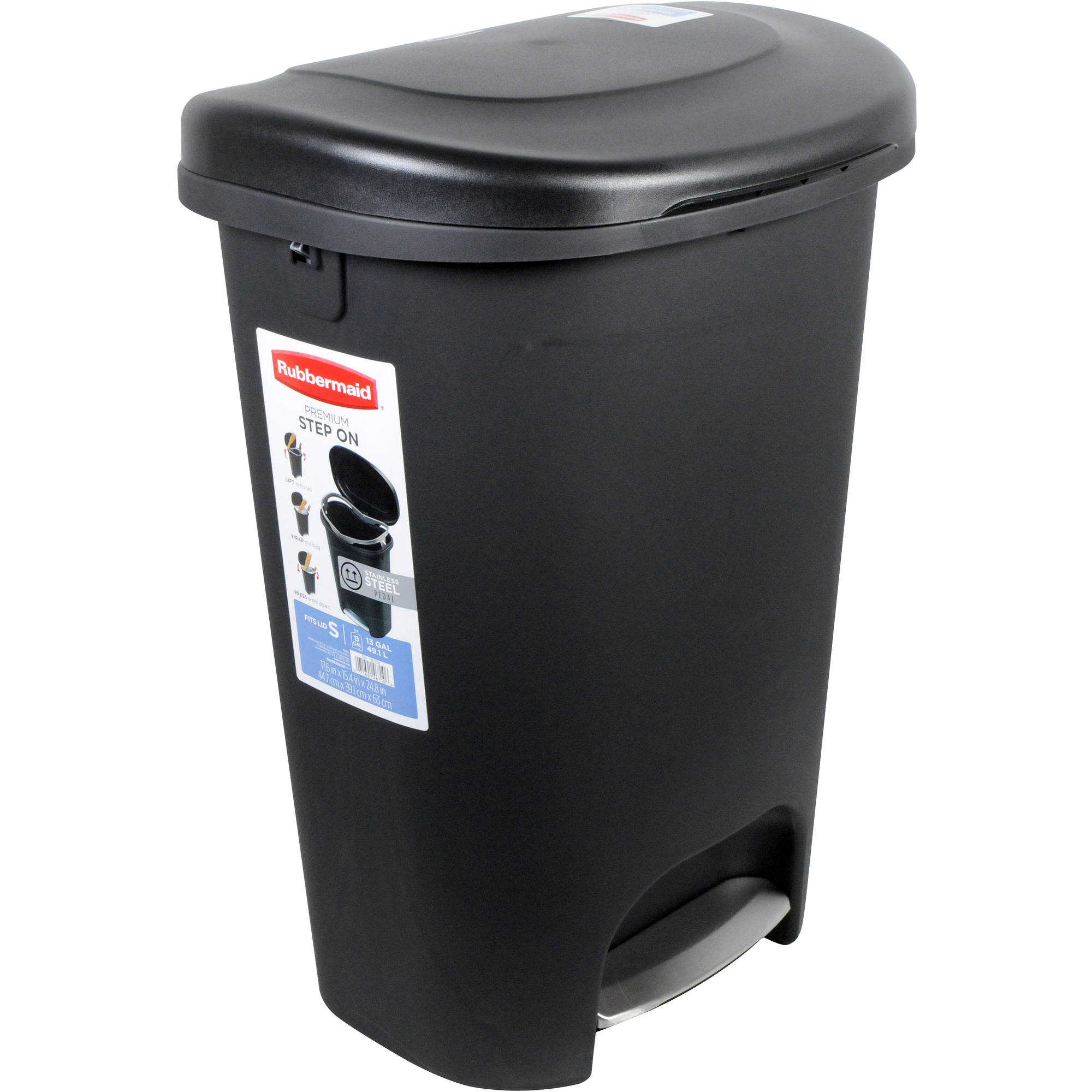rubbermaid premium step-on trash can, 13 gal, black with metal