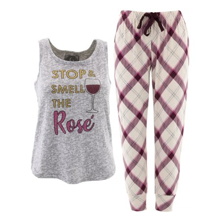PJ Couture Smell The Rose Gray Pajamas for Women