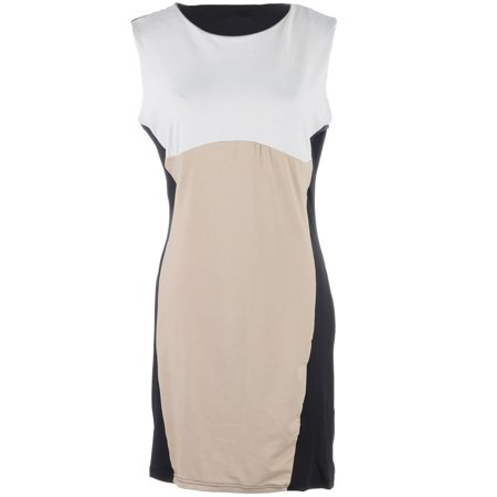 S/M Fit Black and Beige Mod Inspired Style Color Block Shift Dress - Mod Suit Style