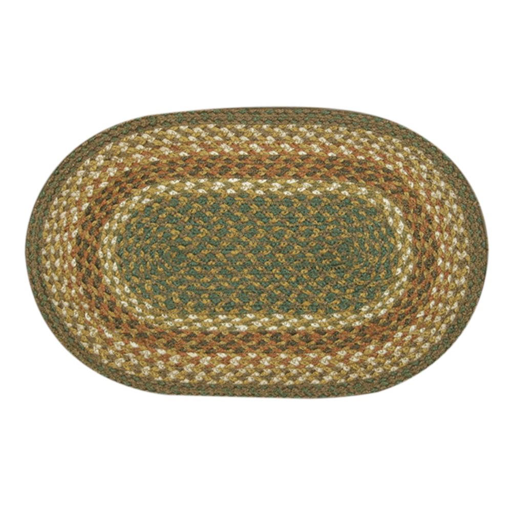 "Earth Rugs MS-023 Oval Swatch, 10 x 15"""", Mustard/Ivory"