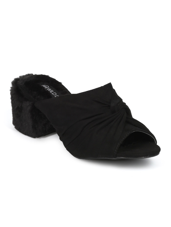 Women Faux Suede Peep Toe Faux Fur Block Heel Mule HD03
