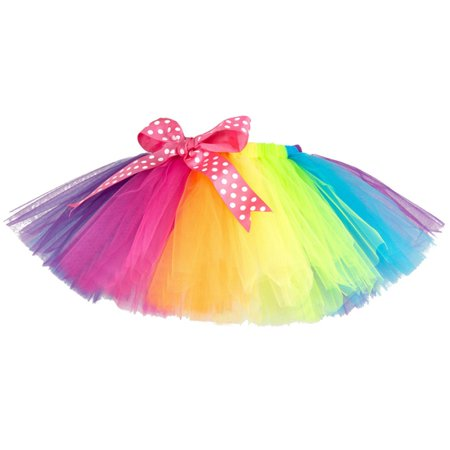 BOBORA Fashion Girls Kids Rainbow Color Tutu Party Ballet Dance Wear (80's Fashion Tutu Skirts)
