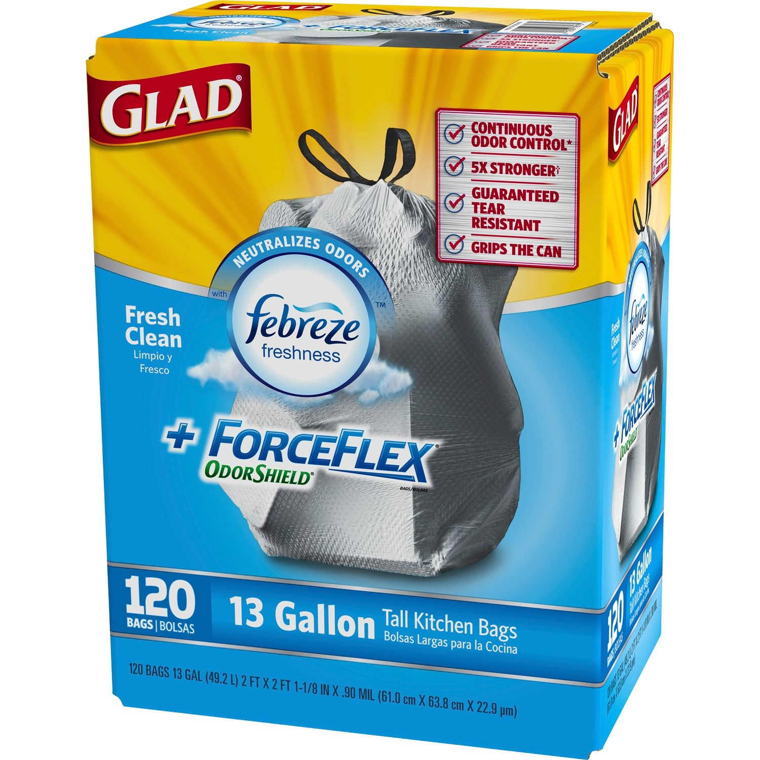 Glad Force Flex Odor Shield Drawstring, Fresh Clean Scent, 13 Gallon ...