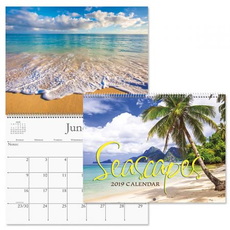 """2019 Seascapes Wall Calendar - 12"""" x 9"""" (closed), bookstore quality, spiral bound"""