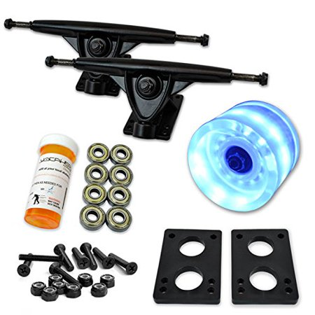 LONGBOARD Skateboard TRUCKS COMBO set w/ LED light up WHEELS + trucks Package - 70mm LED Blue wheels Black trucks