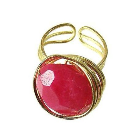 - Agate Chunk Statement Ring in Berry