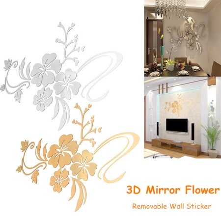 - 3D Jeteven Retro Mirror Flower Wall Sticker Floar Art Removable Decoration Vinyl Acrylic Mural Decal DIY Living Home Dining Room Bedroom Kitchen Sofa Decor,Silver& Gold 2 color