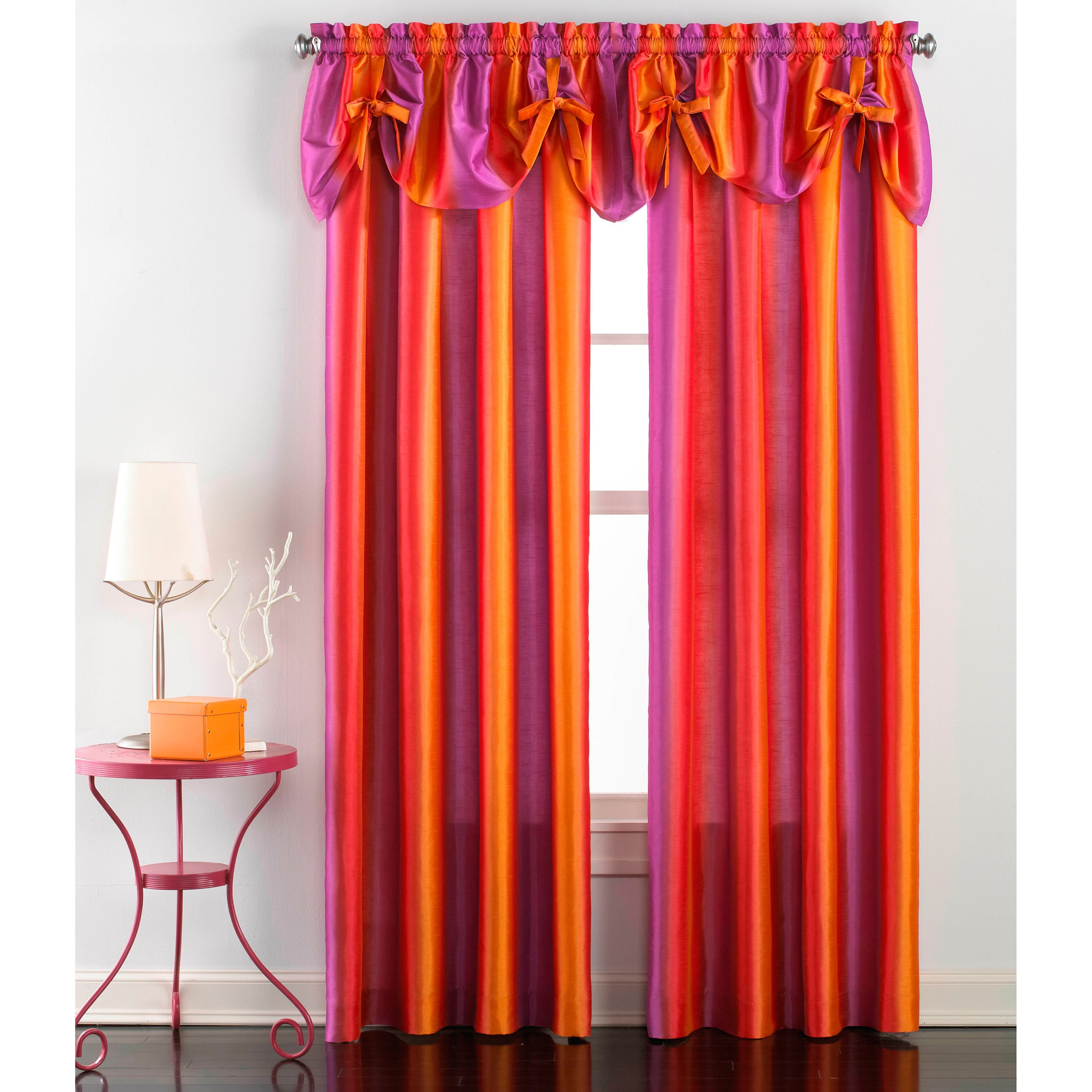 CHF Industries Rainbow Ombre Faux Silk Curtain Panel Pair and Valance Set