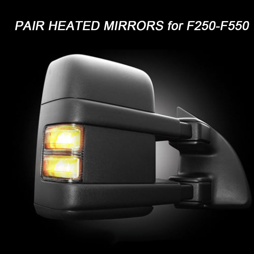 GZYF A Pair of Left and Right 2003-2007 Ford F-250 F-350 F-450 F-550 Super Duty Towing Mirrors Power - Heated Manual Telescoping Turn Signal Lights Black