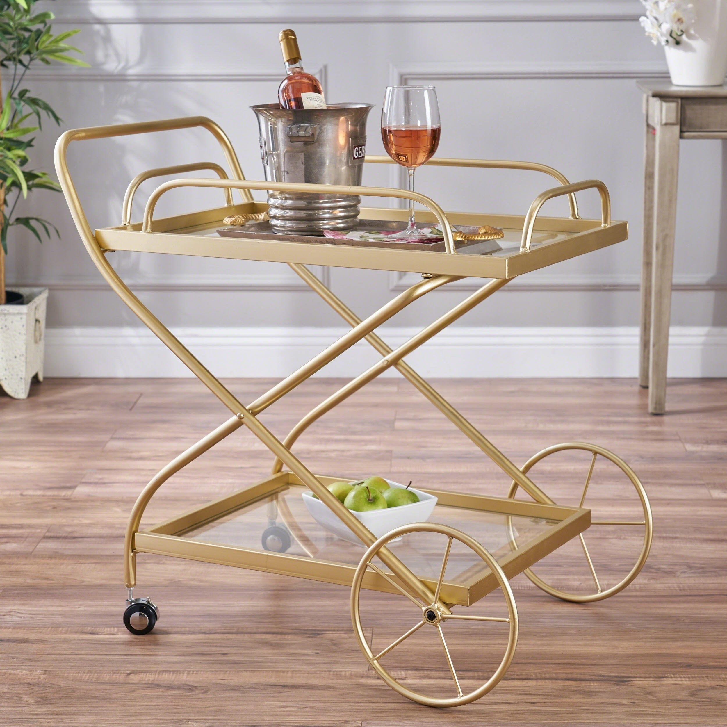 Christopher Knight Home Perley Traditional Iron Glass Bar Cart with Shelves by