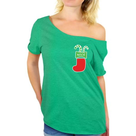 Awkward Styles Nice Christmas Stocking Pocket Off Shoulder Shirt Ugly Christmas T Shirt for Women Funny Christmas Gifts for Her Xmas Stocking Shirt Off The Shoulder Holiday Outfit Xmas Party Gifts (Nice Everyday Outfits)