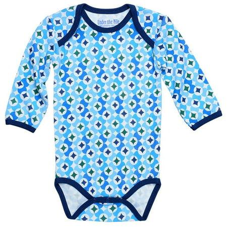 600aadedb4 Under the Nile Organic Cotton Bodysuit w  Pant - Navy Prism Print 9-12m -  Walmart.com