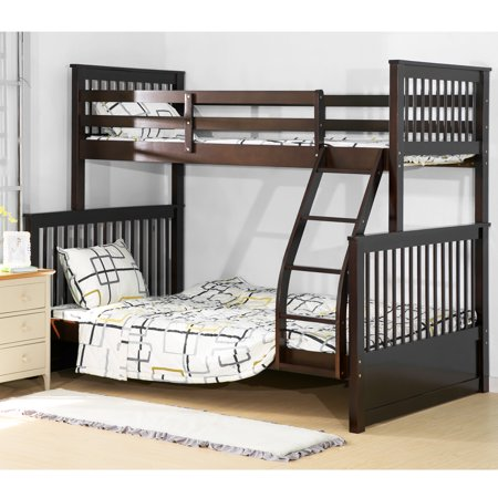 Harper Bright Designs Twin Over Full Solid Wood Bunk Bed Brown Finish