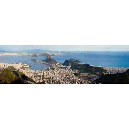High angle view of the city with Sugarloaf Mountain in background Guanabara Bay Rio De Janeiro Brazil Stretched Canvas - Panoramic Images (15 x 5)