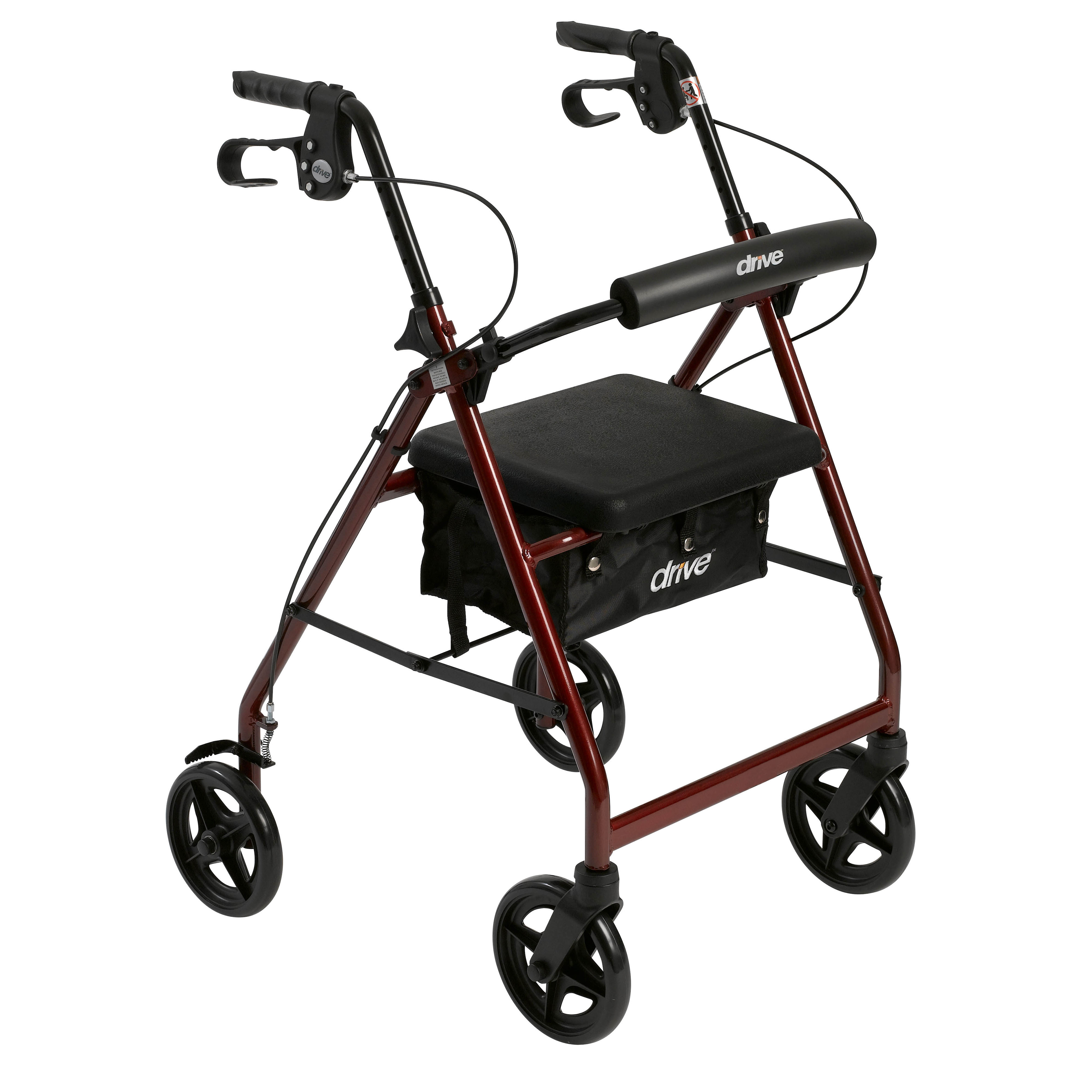 Drive Medical Aluminum Rollator Rolling Walker with Fold Up and Removable Back Support and Padded Seat, Red