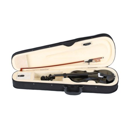 Zimtown New 1/2 Black Acoustic Violin with Hard Case, Bow, Rosin for Kids Children beginners - image 2 de 7