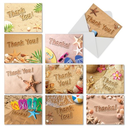 AM6113TYG-B1x10  Thank You Greeting Card 'Beach Notes' with Envelope by NobleWorks (Beach Greeting Cards)