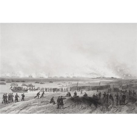 Landing The Troops During Bombardment of Fort Fisher North Carolina 1864 From Painting by Alonzo Chappel Poster Print, Large - 34 x