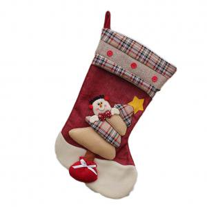 Fancyleo Big Size Classic Plush 3D Christmas Stockings, 1 Pcs Set Classic Xmas Stocks for Decoration Kids Gift Santa Snowman Gift - Stocking Decorations