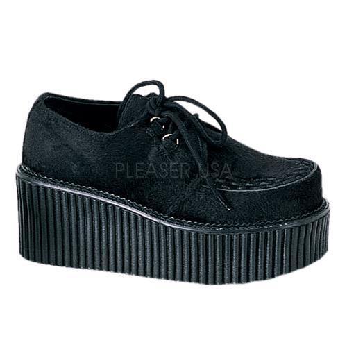 CRE202 B FUR Demonia Creepers Women's Shoes BLACK Size: 6 by