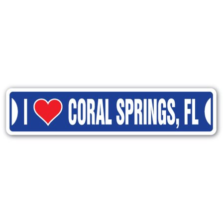 Party City Coral Way (I LOVE CORAL SPRINGS, FLORIDA Street Sign fl city state us wall road décor)