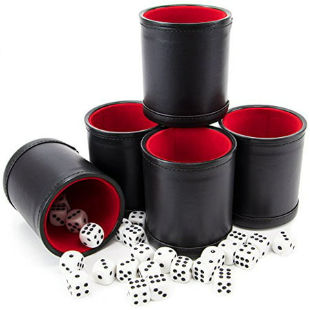 Brybelly Dice Cup Bundle: 5 Professional Bicast Leather Dice Cups & 25 Dice