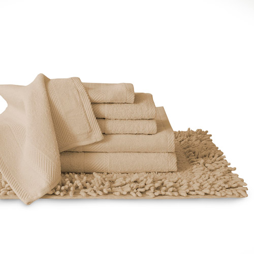 100% Cotton 7 Piece Towel And Bath Rug Set Collection, Dyed To Match