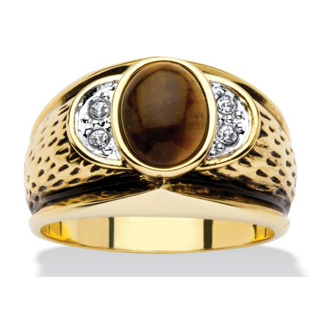 Men's Oval-Shaped Genuine Tiger's Eye Crystal Accent 14k Yellow Gold-Plated Antique-Finish (Crystal Yellow Ring)