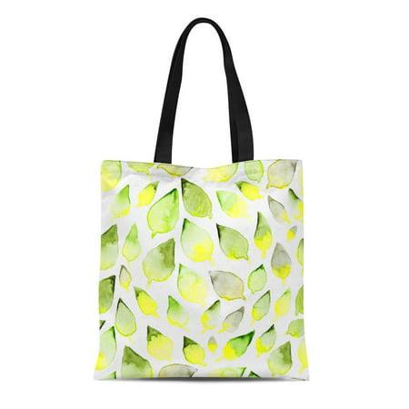 ASHLEIGH Canvas Tote Bag Green Lemon Abstract Watercolor Leaf Pattern Yellow Sage Bio Reusable Shoulder Grocery Shopping Bags Handbag
