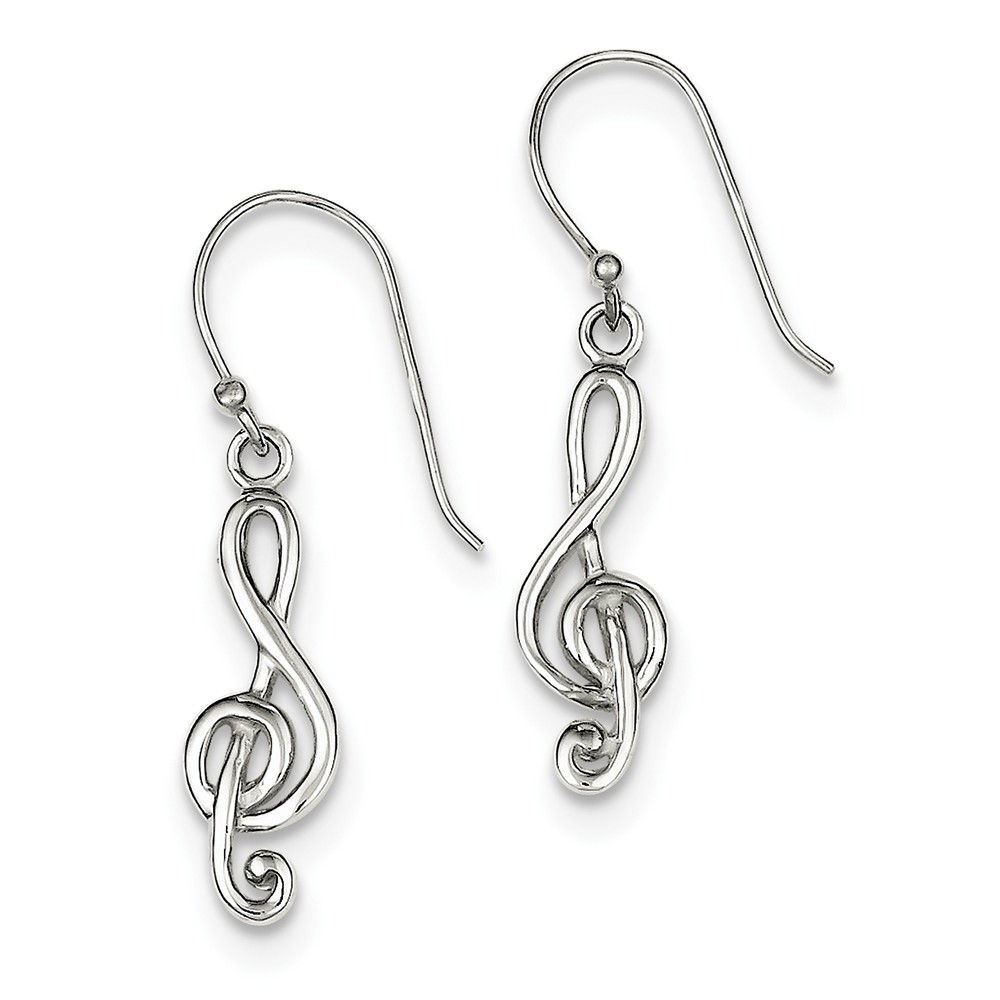 Sterling Silver 1.3IN Long Music Treble Clef Shepherd Hook Dangle Earrings