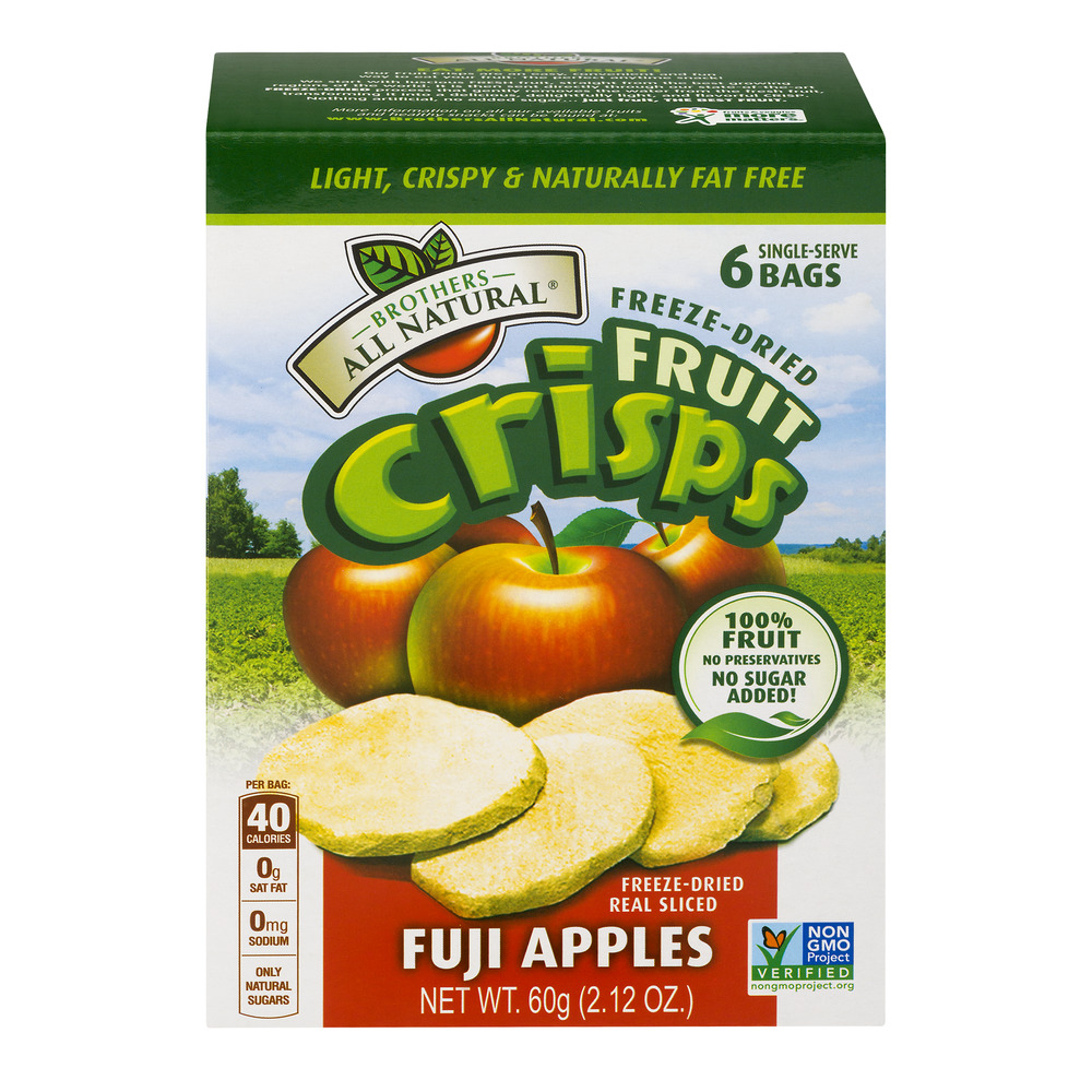Brother All Natural® Freeze-Dried Fruit Crisps, Fuji Apples, 2.12 Oz, 6 Ct