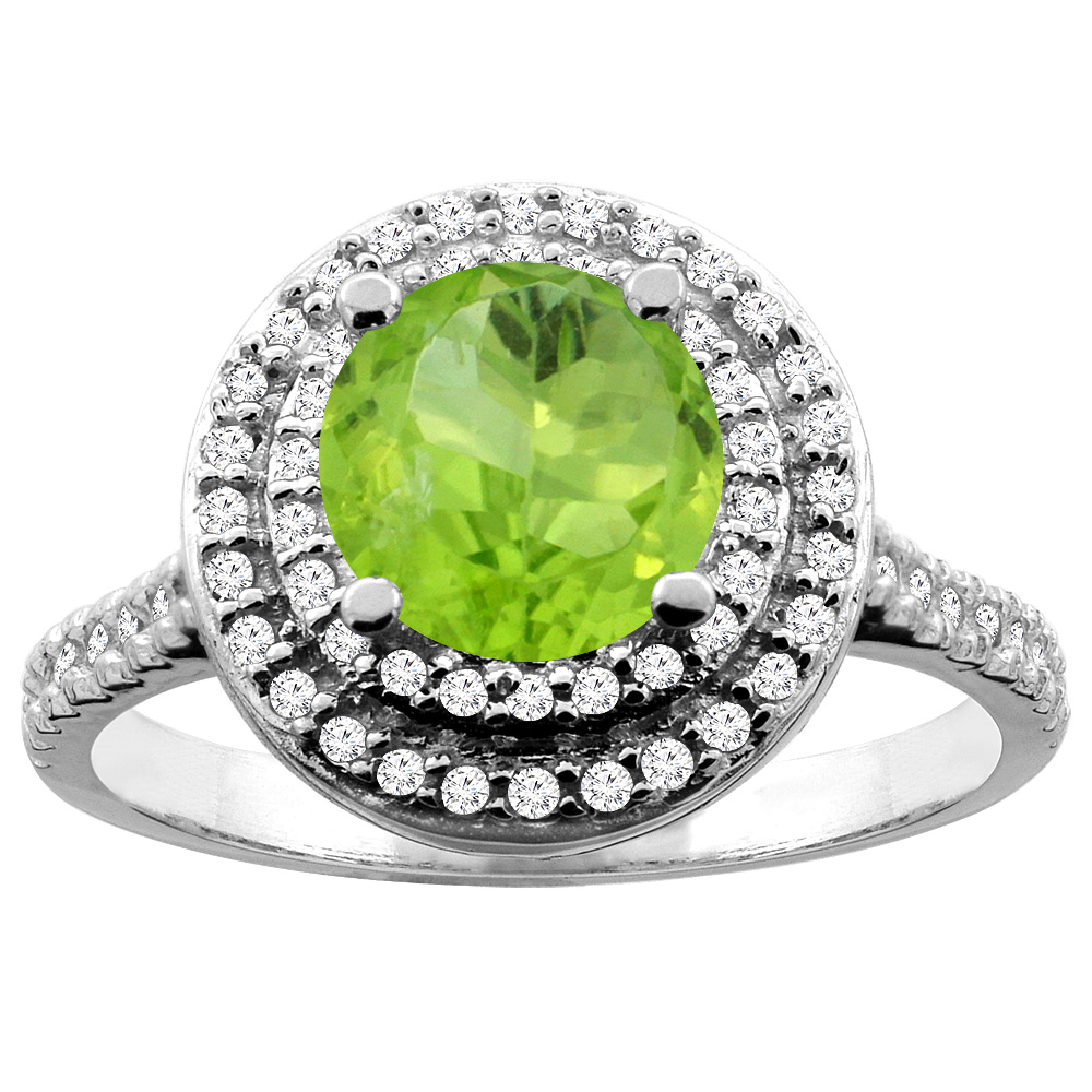10K White Yellow Gold Natural Peridot Double Halo Ring Round 7mm Diamond Accent, sizes 5 10 by WorldJewels