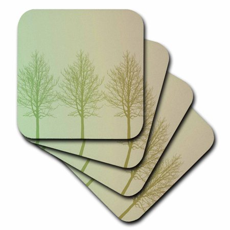 3dRose Three Green Gold Trees, Soft Coasters, set of 8 by