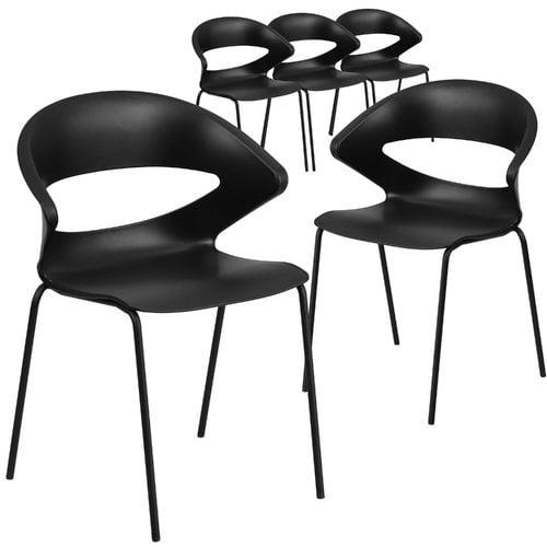 Flash Furniture 5pk HERCULES Series 440 lb. Capacity Black Stack Chair