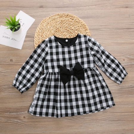 Toddler Kids Baby Girls Autumn Winter Plaid Dress Princess Party Dresses 1-6Y (Plaid Party Dress)