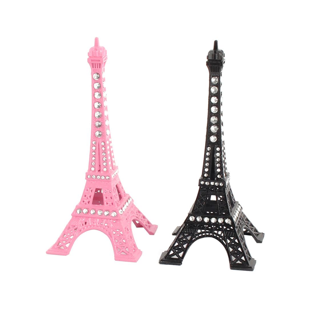 Room Bedroom Metal Miniature Statue Eiffel Tower Model Souvenir Pink Black 2pcs